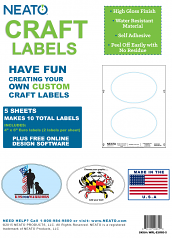"""Blank Craft Labels - High Gloss, Vinyl, Water Resistant, 4"""" X 6"""" Euro - 5 Sheets - 10 Labels - PLUS FREE SHIPPING!"""