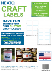 """Blank Craft Labels - High Gloss, Vinyl, Water Resistant, 2"""" X 3"""" & 3"""" X 3.5"""" - 5 Sheets Eaach - 70 Labels Total"""