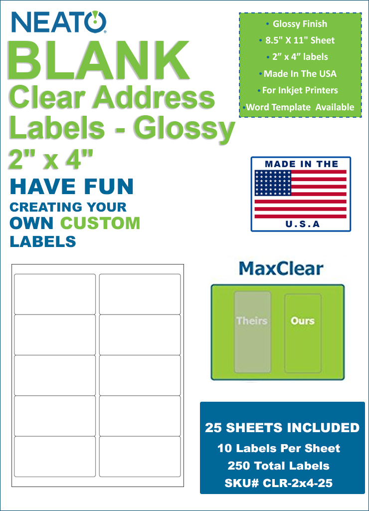 neato clear address labels 2 x 4 250 labels glossy. Black Bedroom Furniture Sets. Home Design Ideas