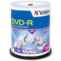 Verbatim DVD-R - 16X, 4.7GB - 100 Pack
