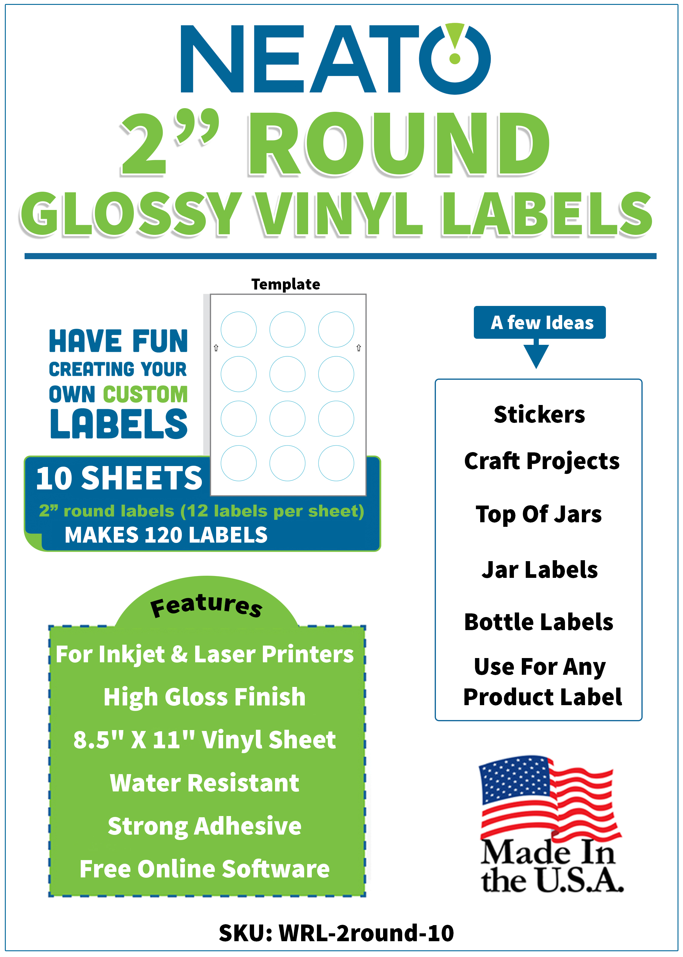 """Blank Craft Labels - High Gloss, Vinyl, Water Resistant, 2"""" round labels - 10 Sheets - 120 Labels"""