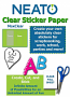 Neato MaxClear Transparent Clear Sticker Paper - 10 Pack - Works with Inkjet Printers and All Cutters