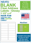 """NEATO Clear Address Labels - 1 1/3"""" x 4"""" - Glossy - For Inkjet Printers"""