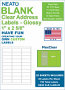 """NEATO Clear Address Labels, 1"""" x 2 5/8"""", 750 Labels, Glossy, For Inkjet Printers"""