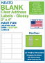 """NEATO Clear Address Labels, 2"""" x 4"""", 250 Labels, Glossy, For Inkjet Printers"""