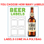 Blank Beer Labels - High Gloss - Water Resistant - PRINTED - You Choose How Many Sheets